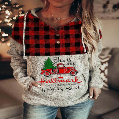 This Is My Hallmark Christmas Movies  Watching Shirt Plaid Print Hoodie