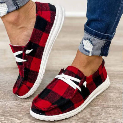 Ladies Black And Red Check Slip Shoes