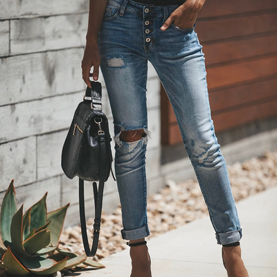 Vintage Ripped 4-button Mid-high Waist Jeans