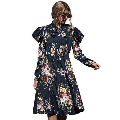 Black Floral Slim Fashion Dress