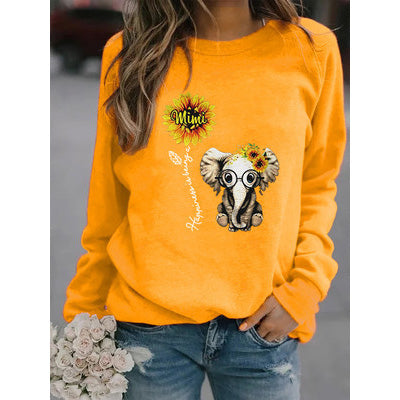Sunflower And Elephant Print Sweatshirt