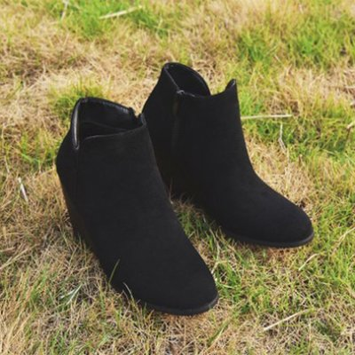 Women's Solid Color Side Zipper Wedge Ankle Boots