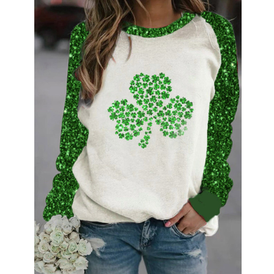 Clover Print Round Neck Long Sleeve