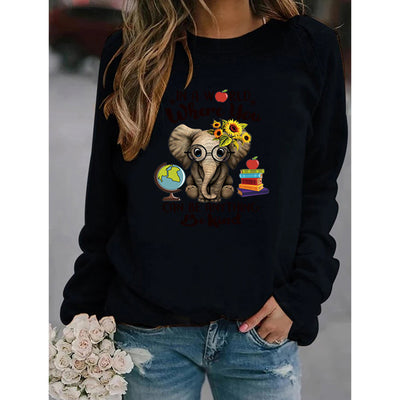 Elephant With Glasses Print Sweatshirt