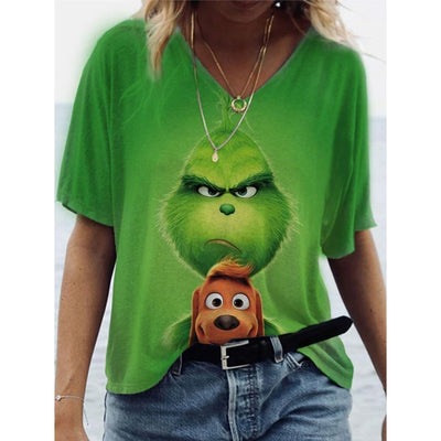 Christmas Grinch V-neck Short Sleeve T-shirt