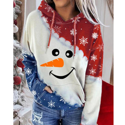 Women's Snowman Contrast Color Long Sleeve Hoodie