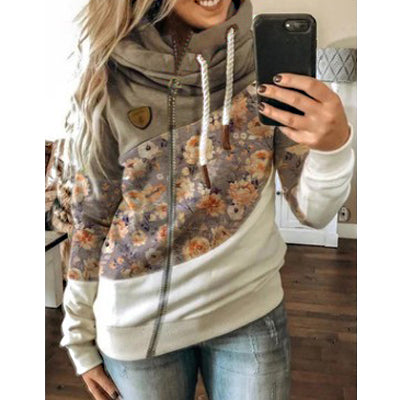 Contrasting Print Plus Fleece Hooded Sweatshirt