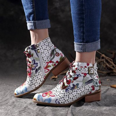 Ink Painting Flower Stitching Ankle Boots