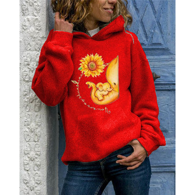 Elephant Mother And Child With Sunflower Print Hoodie