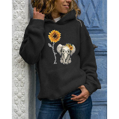 Elephant And Sunflower Print Hoodie