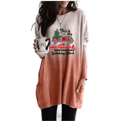 Casual Christmas Truck Print Long Sleeve T-shirt