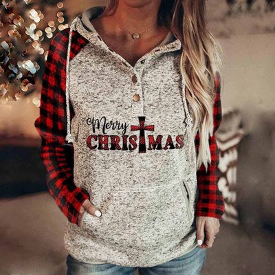 Merry Christmas Print Plaid Sleeve Sweatshirt