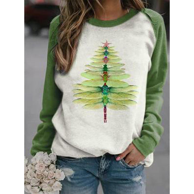 Dragonfly Christmas Tree Print Sweatshirt