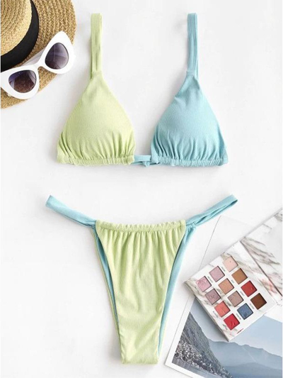 Sports fashion color contrast sexy low waist strap bikini split swimsuit suit