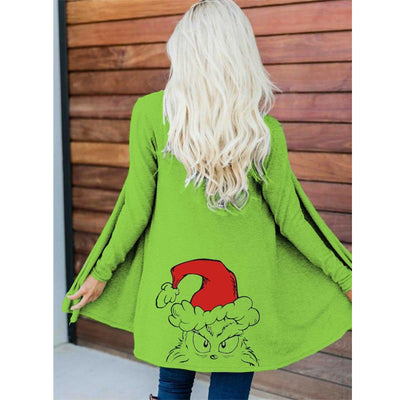 Women's Christmas Grinch With Hat Print Cardigan