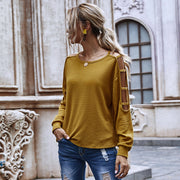 Solid Color Round Neck Openwork Sweater