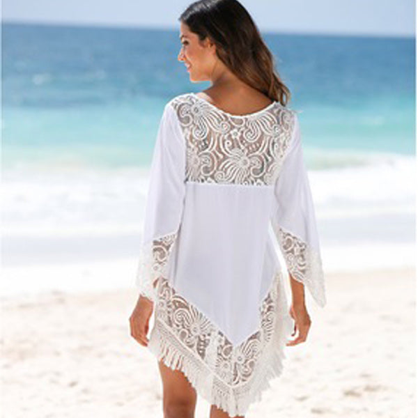 Lace Stitching Fringed Sunscreen Beach Skirt