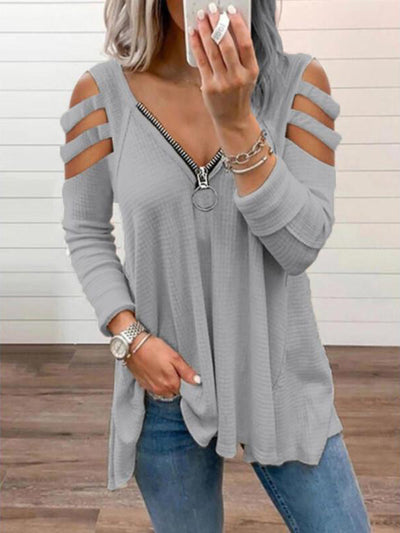 V-neck-strapless Print Sexy Off-shoulder Long Sleeves