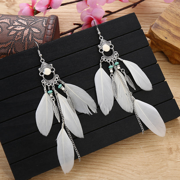 Retro Fringe Colorful Feather Earrings