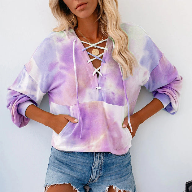 Tie-dye Drawstring Hooded Long-sleeved Top