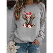 Flower Wreath And Baby Elephant With Glasses Print Sweatshirt