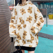 Winter Couple Bear Lamb Wool Hooded Sweater Coat