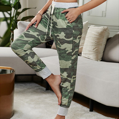 Camouflage Loose Tether Elastic Waistband Cropped Trousers