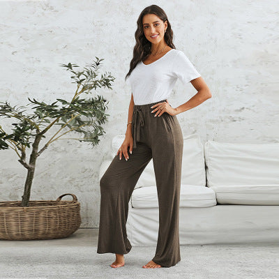 Solid Color Tether Loose Home Pants