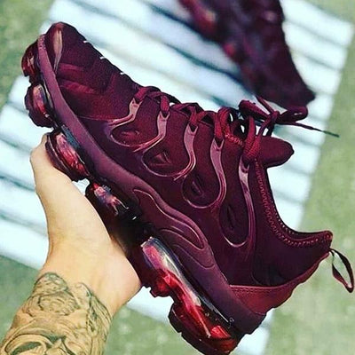 Solid Color Burgundy Sneakers