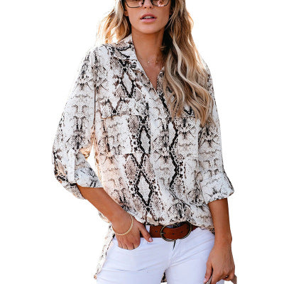 New Leopard Print Nine-point Sleeve Cardigan Suit Shirt