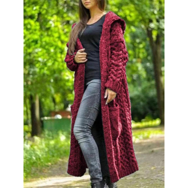 Twist Braid Lazy Style Hooded Long Cardigan Sweater