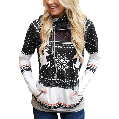 Christmas Zipper Printing Hooded Sweatshirt