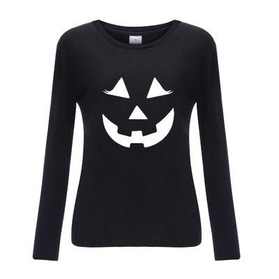 Halloween New Pumpkin Lantern Spoof Print Pattern Long Sleeve