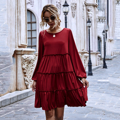 Round Neck Big Hem Skirt Ruffled Stitching Long-sleeved Knitted Dress