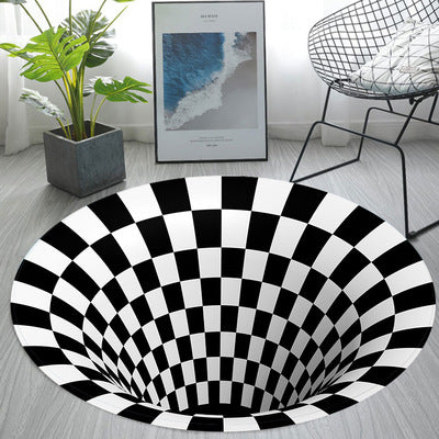 Round Black And White 3d Trap Pattern Carpet