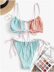 Fashion Color contrast sexy hollow open back split bikini swimsuit suit