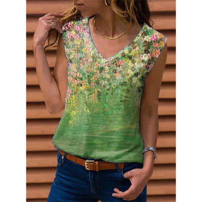 V-neck Casual Bottoming Shirt Printed Vest