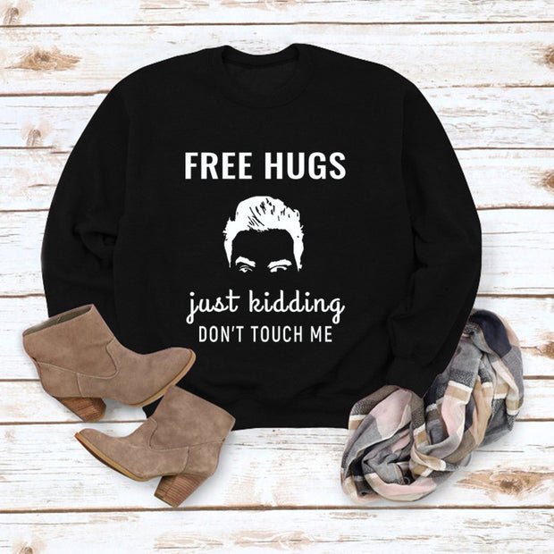 Free Hugs Letter Print Casual Long-sleeved Sweater