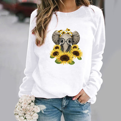 Elephant Surrounded By Sunflowers Print Sweatshirt