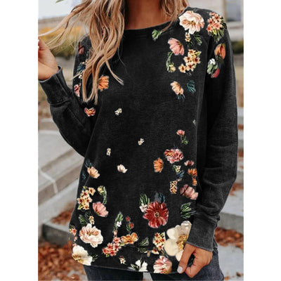 Round Neck Loose Floral Print Long Sleeves