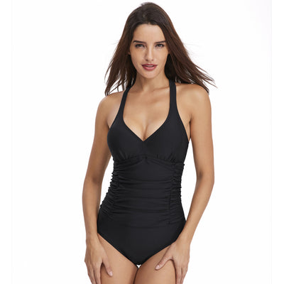 Smismivo Tummy Control Swimwear Black Halter One Piece Swimsuit Ruched Padded Bathing Suits for Women Slimming Vintage Bikini