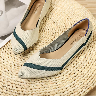 Princess Shoes With Pointed Toe Flying Knit Shoes Flat Bottom Breathable Knit Shoes