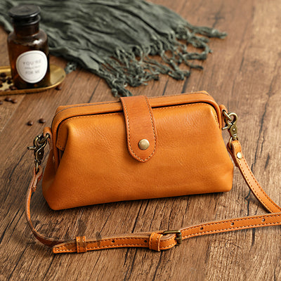 Handmade Vegetable Tanned Cowhide Small Mouth All-match Pouch