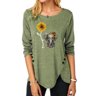 Baby Elephant And Sunflower Long Sleeve