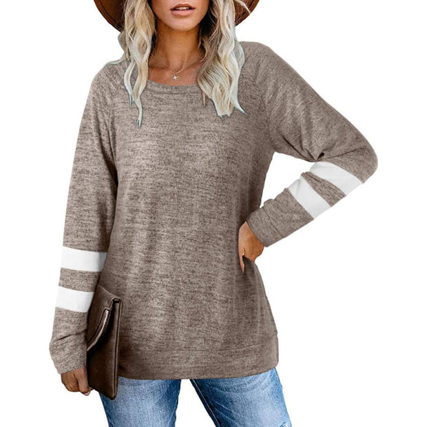 Round Neck Stitching Long Sleeve Sweater