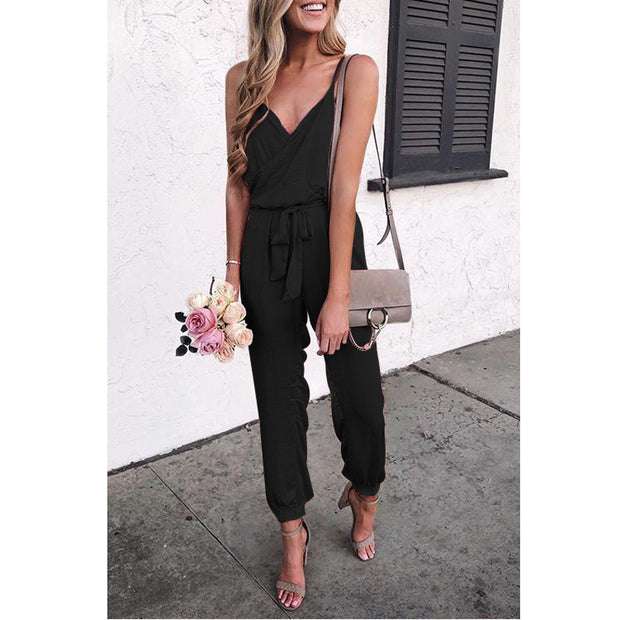 Solid Color Suspender Belt Jumpsuit