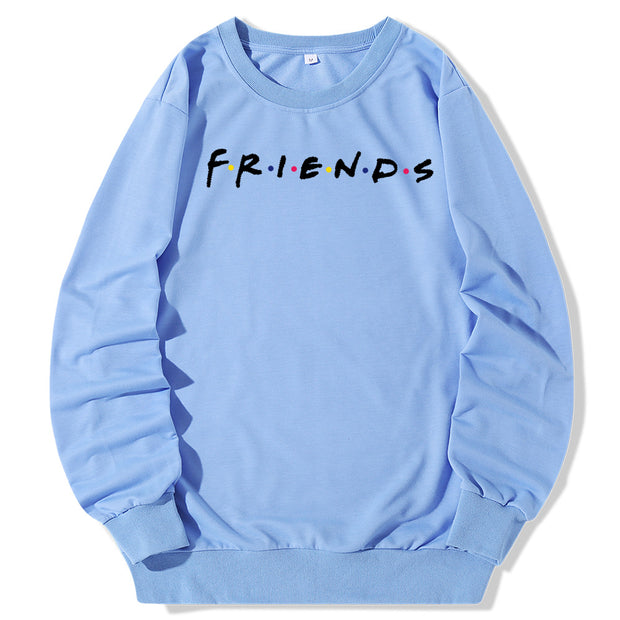 Friends-Letter Print Crew Neck Sweatshirt