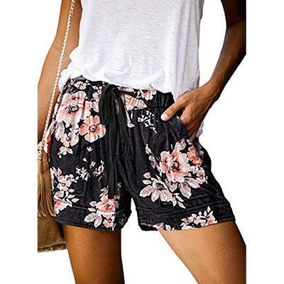 High-waisted Elasticated Print Shorts