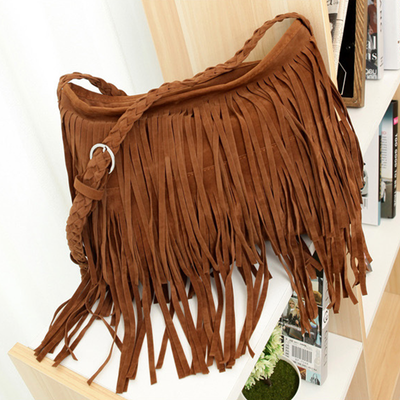 Leather Velvet Frosted Tassel Bag