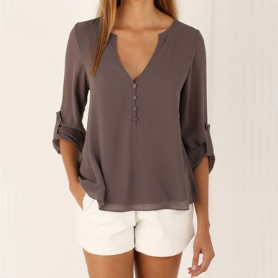 Button Rolled Short-Sleeved V-Neck Solid Pattern Blouse